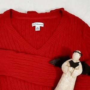 Croft & Barrow Cable Knit Sweater Red V-neck